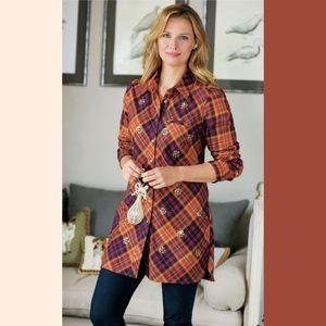 Soft Surroundings Women's Galveston Flannel Top 2X